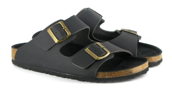 Vegane Sandalen Two Strap in schwarz von Vegetarian Shoes